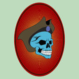 Pirat. E skull skeleton symbol bone, horror, evil, danger illustration  human tattoo cartoon, head spooky warning background crossbones fear flag icon dead e Royalty Free Stock Photography