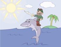 Pirat reitet den Haifisch Lizenzfreies Stockbild