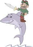 Pirat reitet den Haifisch Stockfoto