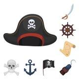 Pirat, Seeräuber-Karikaturikonen in der Satzsammlung für Design Schätze, Attributvektorsymbol-Vorratnetz Stockfotos