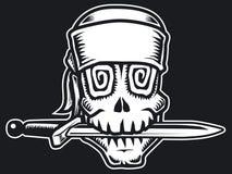 Pirat skull b&w. Pirat skull with knife. Black and white Stock Photos