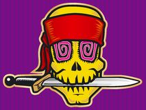 Pirat skull color. Pirat skull with knife. Color Stock Images