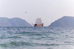 Pirat toat in a calm bay. Aegean Sea. Turkey Stock Photos
