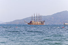 Pirat toat in a calm bay. Aegean Sea. Turkey Royalty Free Stock Photography