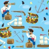 Pirat und Schatz-nahtloses Muster Stockfotografie