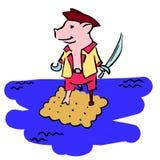 Pirat y galleta antropomorfos del pigglet de la historieta en el mar ilustración del vector