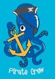 Pirat załoga ośmiornica. Obraz Royalty Free