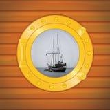 pirata łódkowaty porthole ilustracja wektor