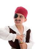 Pirata arrabbiato che tiene una portata immagini stock libere da diritti