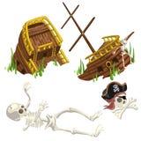 Pirata arruinado antiguo de la nave y del esqueleto stock de ilustración