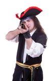 Pirata asustadizo con un arma en manos Foto de archivo libre de regalías
