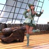 Pirata atractivo en la nave ilustración del vector