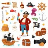 Pirata charakteru pirata wektorowy korsarski mężczyzna w nielegalnie kopiować kostium w kapeluszu z kordzika ilustracyjnym ustawi ilustracja wektor
