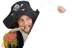 Pirata che tiene un segno Fotografia Stock Libera da Diritti