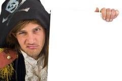 Pirata che tiene un segno Fotografie Stock