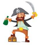 Pirata com caixa Foto de Stock Royalty Free