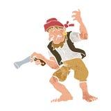 Pirata com desenhos animados da arma Fotografia de Stock Royalty Free
