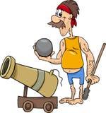 Pirata com ilustração dos desenhos animados do canhão Fotos de Stock Royalty Free