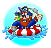 Pirata com o papagaio na água Fotografia de Stock Royalty Free