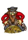 Pirata com tesouro do ouro ilustração royalty free