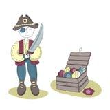 Pirata com um só olho com uma espada em sua mão que está ao lado de uma ilustração simples do vetor da arca do tesouro para crian Imagens de Stock