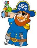 Pirata con il cannocchiale ed il pappagallo Fotografie Stock Libere da Diritti