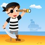 Pirata con il cannocchiale su una spiaggia illustrazione di stock