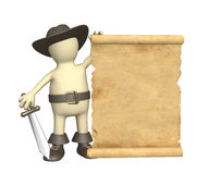 Pirata con il manoscritto antico royalty illustrazione gratis