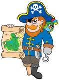 Pirata con il programma del tesoro illustrazione di stock