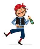 Pirata con la bottiglia di rum illustrazione vettoriale