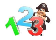 Pirata con la muestra 123 stock de ilustración