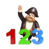 Pirata con la muestra 123 Foto de archivo libre de regalías