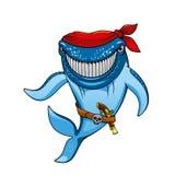 Pirata de la ballena azul de la historieta en pañuelo y arma Fotos de archivo