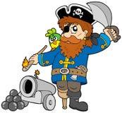 Pirata de la historieta con el cañón ilustración del vector