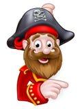Pirata de la historieta que mira a escondidas y que señala Imagenes de archivo