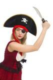 Pirata de la mujer aislado Fotos de archivo