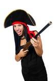 Pirata de la mujer aislado en blanco Foto de archivo libre de regalías