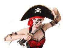 Pirata de la mujer con una espada Traje para Víspera de Todos los Santos Imagenes de archivo
