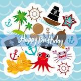 Pirata de la tarjeta del feliz cumpleaños Diseño lindo de los animales de la invitación del partido Fotos de archivo