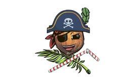 Pirata del coco coco en un sombrero del pirata un pirat del coco de la historieta stock de ilustración