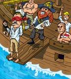 Pirata del fumetto che cammina la plancia Immagini Stock Libere da Diritti