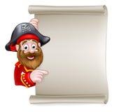 Pirata del fumetto che indica al segno del rotolo illustrazione vettoriale