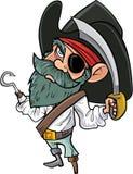 Pirata del fumetto con la toppa dell'occhio e della sciabola Fotografia Stock Libera da Diritti