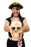 Pirata del hombre aislado en el fondo blanco fotografía de archivo