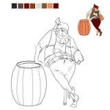 Pirata del libro da colorare che tiene un forziere e si appoggia il barilotto Immagini Stock