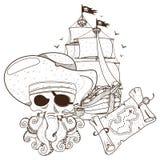 Pirata del polipo, nave di pirata, mappa del tesoro Tema del pirata dei grafici fotografie stock