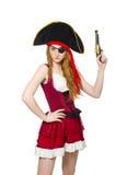 Pirata della donna isolato Fotografie Stock