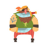 Pirata desaliñado con el remiendo del ojo y pañuelo que sostiene el cuchillo en dientes, personaje de dibujos animados del asesin Fotografía de archivo