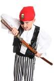 Pirata di ringhio con la spada immagine stock