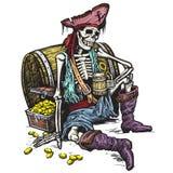 Pirata di scheletro Fotografia Stock
